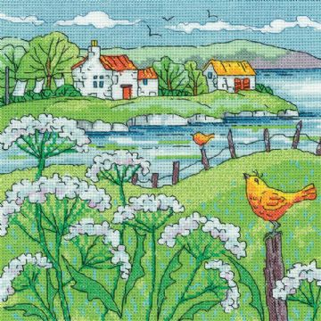 Heritage Crafts Karen Carter Collection Cross Stitch Kit - Cow Parsley Shore